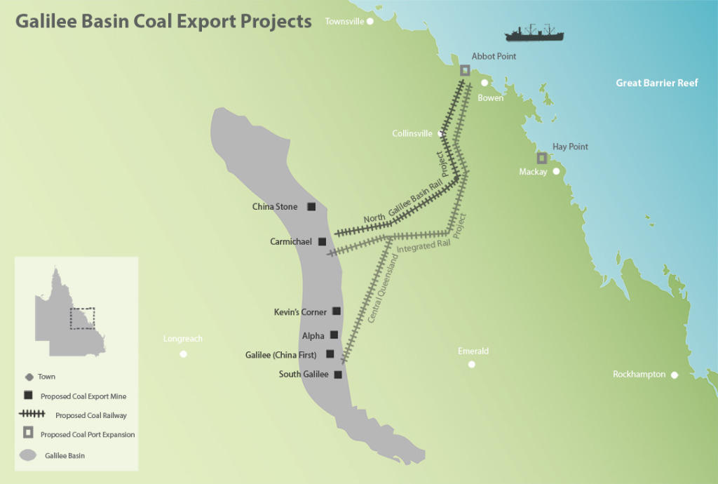 Galilee Basin Coal Export Projects Map